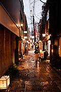 Hozenji Yokocho lane where Wasabi and Kagawa restaurants are located.
