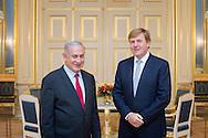 6-9-2016  DEN HAAG - Minister-president Benjamin Netanyahu van Isra&euml;l brengt 6 en 7 september 2016 een bezoek aan Nederland. Tijdens dit bezoek wordt de Isra&euml;lische minister-president onder anderen ontvangen door Zijne Majesteit de Koning op paleis Noordeinde en minister-president Rutte. COPYRIGHT PATRICK VAN KATWIJK <br /> 6-9-2016 THE HAGUE - Prime Minister Benjamin Netanyahu of Israel brings 6 and September 7, 2016 a visit to the Netherlands. During this visit, the Israeli prime minister is among others provided by His Majesty the King at Noordeinde Palace and Prime Minister Mark Rutte. COPYRIGHT PATRICK VAN KATWIJK <br /> Koning Willem-Alexander ontvangt Benjamin Netanyahu, minister-president van Israel, op Paleis Noordeinde. Netanyahu brengt een tweedaagse bezoek aan Nederland en vindt plaats in het kader van het bilaterale samenwerkingsforum met Israel.