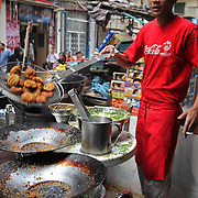 Cooking falafel in the streets of Cairo.