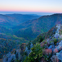 A cold, cloudless morning provides a nice color spectrum in the sky just before the sun rises. Chimney Tops, TN.