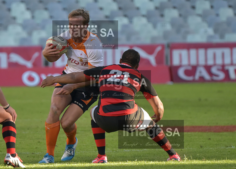 BLOEMFONTEIN, SOUTH AFRICA - Saturday 18 April 2015,  during the Vodacom Cup rugby match between Toyota Free State XV and EP Kings at the Free State Stadium, Bloemfontein.Joubert Engelbrecht Inside centre of Toyota Free State XV and Tony Jantjies Utility back of EP Kings<br /> Photo by Charl Devenish/ImageSA/ SARU