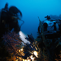 Photographer Eric Cheng sets up a Canon 5D Mark II camera to capture flashlight fish at night on a shipwreck in Papua New Guinea. Photo: Matt Segal (Please contact Matt if you are interested in licensing any of the behind-the-scenes pictures: http://carbonos.com)