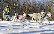 Darleen Plourde of Windsor calls to her team of dogs during a dog sled race in Willimantic, Conn.  Two-and four-dog teams from the Connecticut Valley Siberian Husky Club participated in the event.