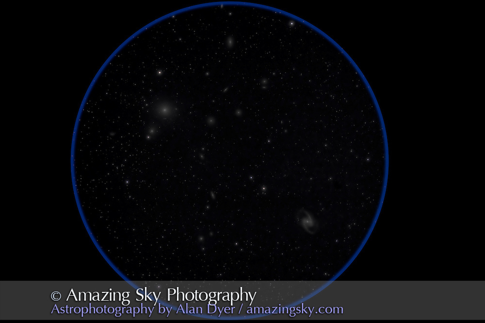 NGC 1365, a classic barred spiral galaxy at lower right, along with the cluster of galaxies in Fornax that includes the large elliptical, NGC 1399 at upper left. This is a stack of 5 x 12 minute exposures at f/5.8 with the 105mm Traveler apo refractor and Canon 5D Matk II at ISO 800. Taken from Timor Cottage, Coonabarabran, NSW, Australia, December 2012.