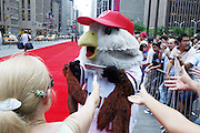Washington National's mascot Screech at the Major League Baseball All-Stars and 49 Hall of Famers ride up Sixth Avenue in All Star-Game Red Carpet Parade Presented by Chevy on July 15, 2008