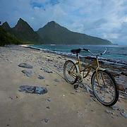 Sunuitao Peak, beach, bicycle, Ofu Island, American Samoa, National Park of American Samoa, national parks
