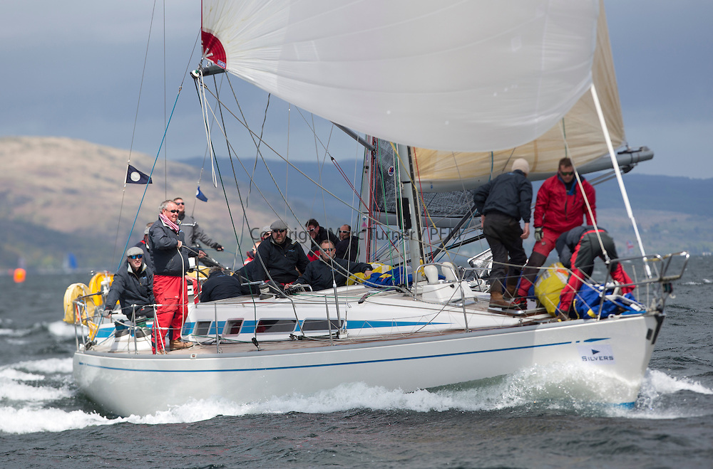 The third days racing at the  Silvers Marine Scottish Series 2015, organised by the  Clyde Cruising Club<br /> Based at Tarbert,  Loch Fyne from 22rd-24th May 2015<br /> <br /> GBR9740R, Sloop John T, Iain &amp; Graham Thomson, CCC, Swan 40<br /> <br /> <br /> Credit : Marc Turner / CCC<br /> For further information contact<br /> Iain Hurrel<br /> Mobile : 07766 116451<br /> Email : info@marine.blast.com<br /> <br /> For a full list of Silvers Marine Scottish Series sponsors visit http://www.clyde.org/scottish-series/sponsors/