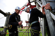 Zip-wire charity challenge from the top of Happisburgh Lighthouse. Pictured is Norman Lamb MP.<br /> <br /> Picture: MARK BULLIMORE