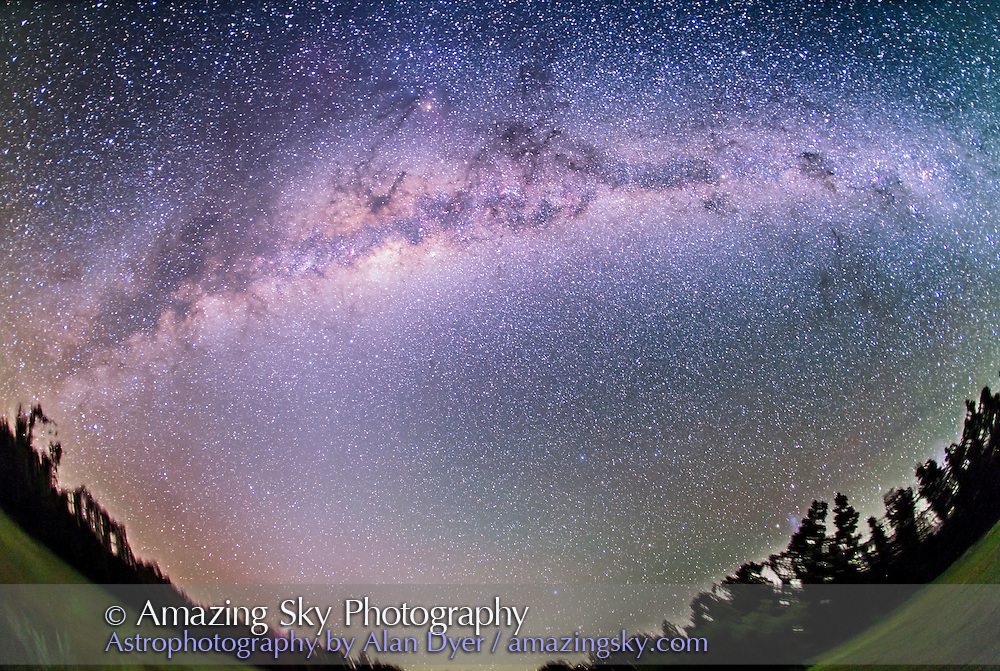 The southern Milky Way from Aquila at left to Carina at right, with the galactic centre in Sagittarius and Scorpius high in the south at centre. The dark nebulas and lanes in the Milky Way make up the &quot;dark emu&quot; of Australian aboriginal cultures. Venus is rising at lower left. The morning zodiacal light extends up from Venus to the Milky Way.<br /> <br /> This is a stack of 2 x 5 minute exposures at f/3.5 with the 15mm full-frame fish-eye lens on the Canon 5D MkII, and tracking the sky on the iOptron Sky Tracker. Taken from Warrumbungles Motel, Coonabarabran, NSW, Australia, at 4 am on March 29, 2014.