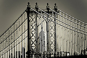 Superimposition photography of the Manhattan Bridge and the Empire State Building taken from Brooklyn, New York, 2009.