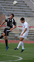 Ohio State defender Santiago Velez (6) heads the ball clear from Binghamton forward Steven Celeste (8) as OSU takes on Binghamton in the first half of an NCAA men's college soccer game in Columbus, Ohio on Sunday, Sept. 11, 2011, at Jesse Owens Memorial Stadium.
