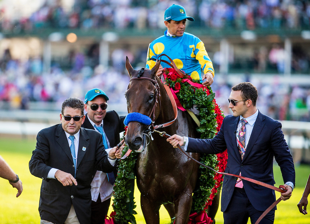May 02, 2015: American Pharaoh with Victor Espinoza is led to the winners circle by Justin Zayat and Jimmy Barnes after winning the Kentucky Derby at Churchill Downs Louisville Ky. Alex Evers/ESW/CSM