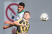 ARNHEM - Vitesse - FC Groningen , Voetbal , Eredivisie, Seizoen 2015/2016 , Gelredome , 03-10-2015 , FC Groningen speler Abel Tamata (l) in kopduel met Vitesse speler Milot Rashica (r)