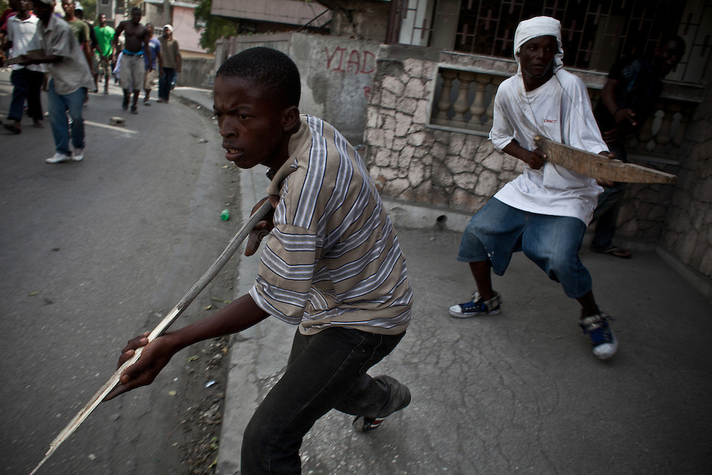 Martelly's supporters demonstrate, in the streets of Port-au-Prince, to protest against the results of the presidential elections and the defeat of their leader, Michel Martelly. ///