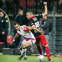 ROTTERDAM - SBV Excelsior - FC Utrecht , Voetbal , Eredivisie, Seizoen 2015/2016 , Stadion Woudestein , 03-10-2015 , FC Utrecht speler Sean Klaiber (l) in duel met Excelsior speler Jeff Stans (r)