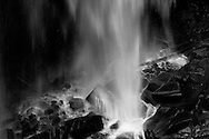 Closeup of the bottom of Narada Falls during late Summer in Mount Rainier National Park, Washington State, USA