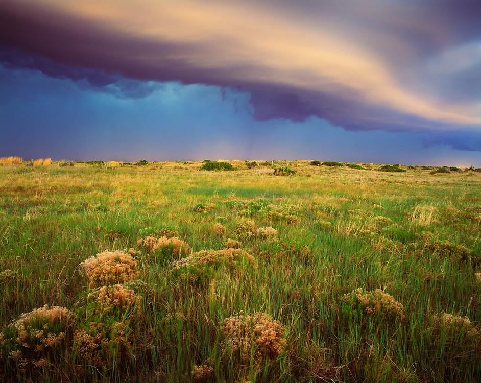 0262-1000B ~ Copyright:  George H.H. Huey ~ Fast moving spring thunderstorm at dusk.  Llano Estacado.  Kiowa National Grasslands, New Mexico...Fast moving spring thunderstorm at dusk.  Llano Estacado.  Kiowa National Grasslands, New Mexico.