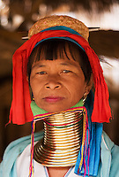 Woman from the Padaung long neck hill tribe near Tha Ton, Chiang Mai Province, Thailand