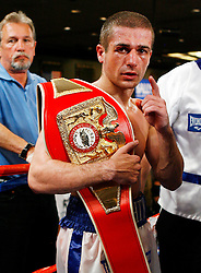 May 9, 2008; Atlantic City, NJ, USA;  Mike Arnaoutis celebrates his win over Lanardo Tyner in their 12 round USBA Junior Welterweight Championship bout at Bally's Ballroom in Atlantic City, NJ.  Arnaoutis retained his title via 12 round unanimous decision.