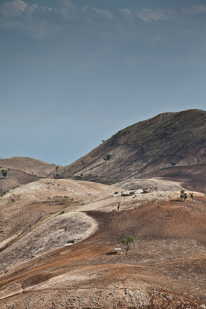 Hillsides stripped of vegetation north of Port-au-Prince, Haiti