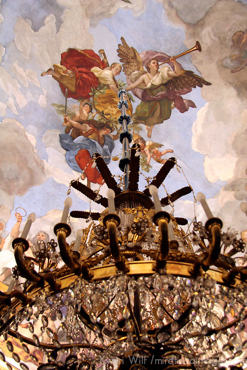 Europe, Spain, Madrid. Chandelier and fresco fo Palacio Real.