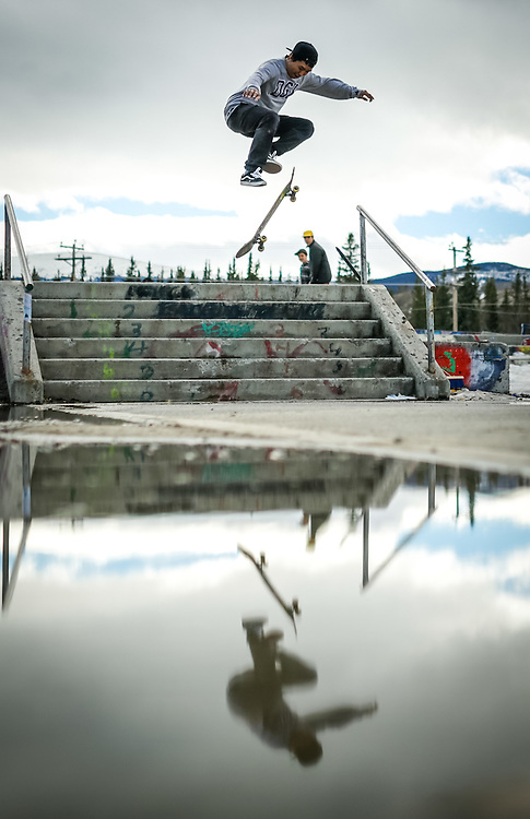 A skateboarder flies down the stairs at the Second Haven skate park in Riverdale.