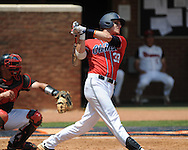 Mississippi's Matt Snyder (33) gets a hit in the third inning vs. St. John'svs. St. John's during an NCAA Regional game at Davenport Field in Charlottesville, Va. on Sunday, June 6, 2010.