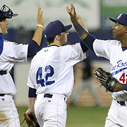 Wilmington Blue Rocks outfielder Johermyn Chavez (32), RIGHT, celebrates with his teammates at the conclusion of a MLB minor league regular season victory over the Winston-Salem Dash Monday, April 14. 2014 at Daniel S. Frawley Stadium in Wilmington, DEL.