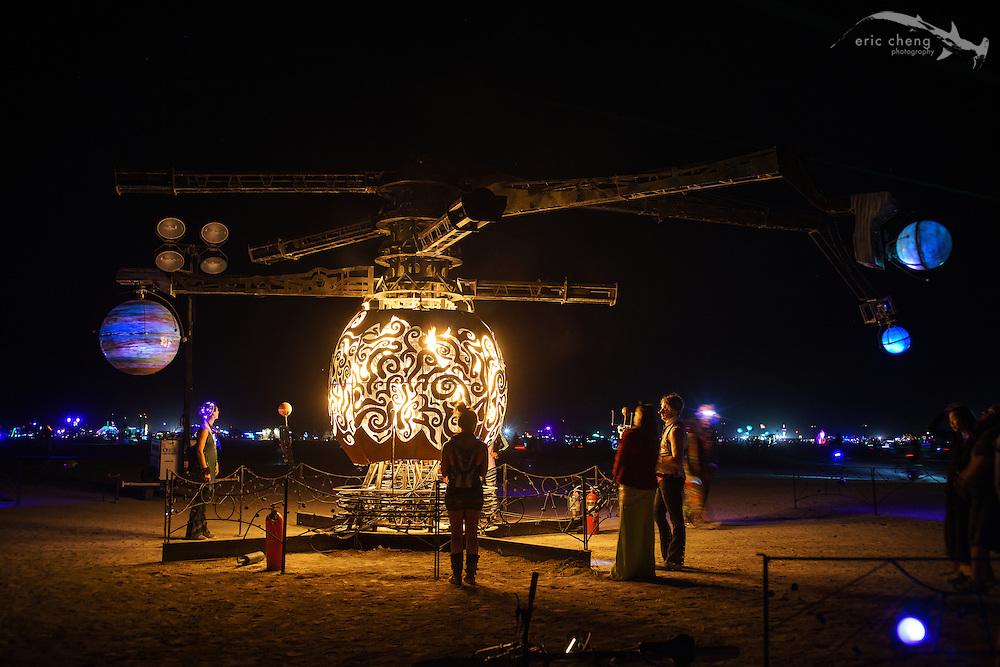 Art installation at night. Burning Man 2014.