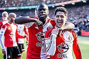 ROTTERDAM  - Feyenoord - PSV , eredivisie , voetbal , Feyenoord stadion de Kuip , seizoen 2014/2015 , 22-03-2015 , Feyenoord speler Anass Achahbar (r) viert de 2-0 met Elvis Manu (l)