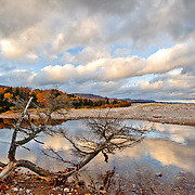 Clouds are seen reflected in a stream during fall on Cape Breton Island in Nova Scotia, Canada on 25 October 2010.