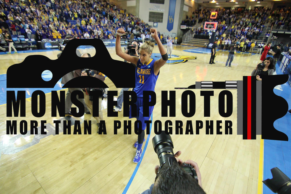 Delaware Forward Elena Delle Donne (11) gestures victory after Delaware defeated North Carolina in the 2013 Women's NCAA tournament Tuesday, March 26, 2013, at the Bob Carpenter Center in Newark Delaware.