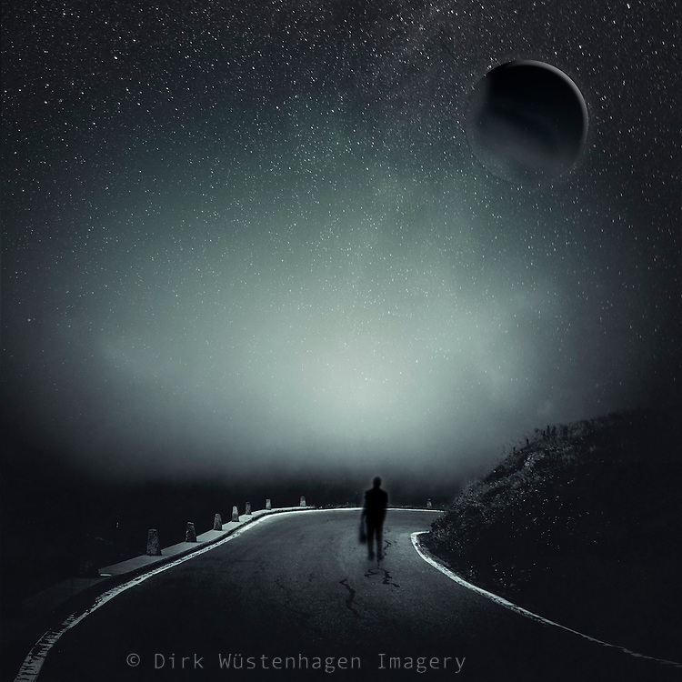 Surreal nightscape with a person on a road and a sphere in a starry sky<br />