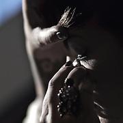 10/23/11 Philadelphia PA: Guest make up artist Ashley Gadille of Dina Hair & Make up Studio during TEASE exhibition Sunday, Oct. 23, 2011 at National Mechanics in Philadelphia Pennsylvania...Monsterphoto/SAQUAN STIMPSON