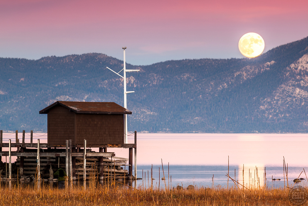 """""""Full Moon Over Lake Tahoe 16"""" - Photograph of the November 2016 Super Moon Over Lake Tahoe. Shot from Tahoe City."""