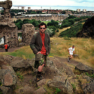 Howie Nicholsby, Creator and Designer of 21st Century Kilts in Holyrood Park in Edinburgh, Scotland, UK..