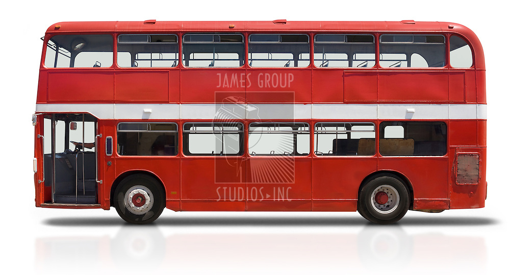 Red double decker London bus isolated on white with a clipping path