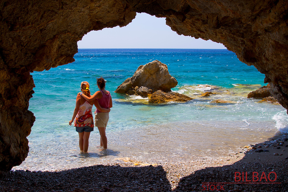 Ladies in a cove.<br /> Datca peninsula, Mugla province, Anatolia, Turkey.