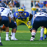 Delaware Linebacker Patrick Callaway (44) lines up directly across from University of Maine quarterback Marcus Wasilewski (7) during a Week 6 NCAA football game against Maine University.
