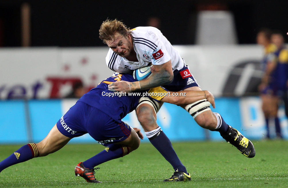 Andries Bekker on the charge.<br /> Investec Super Rugby - Highlanders v Stormers, 7 April 2012, Forsyth Barr Stadium, Dunedin, New Zealand.<br /> Photo: Rob Jefferies / photosport.co.nz