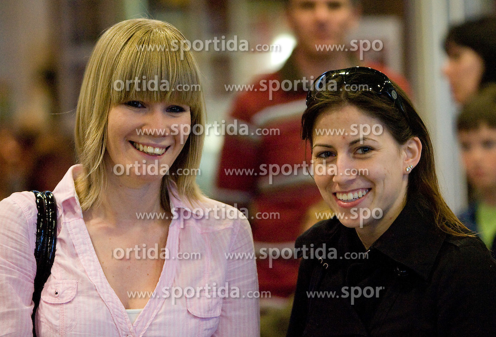 Nina Rizvic and Moja Rode at reception of third placed Saso Bertoncelj at European Championships in artistic gymnastics in Birmingham 2010, on April 26, 2010, at Airport Joze Pucnik, Brnik, Slovenia. (Photo by Vid Ponikvar / Sportida)