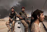 Iraq, Qayyara: On October 2016, some members of the 'Sons of Iraq' Sunni militia outside the barracks where they carried the alleged Isis members. Alessio Romenzi