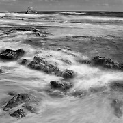 Tide Pools And Arch Rock - Corona Del Mar -  Dusk - Black & White