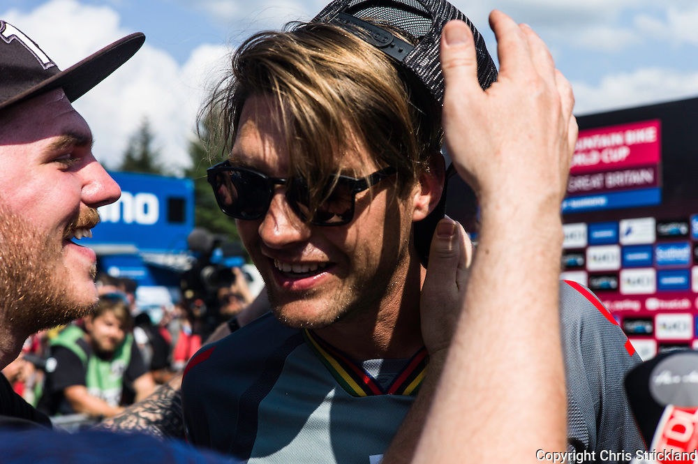 Nevis Range, Fort William, Scotland, UK. 5th June 2016. Greg Minnaar of South Africa and the Santa Cruz Syndicate celebrates his victory in Scotland on Sunday. The worlds leading mountain bikers descend on Fort William for the UCI World Cup on Nevis Range.