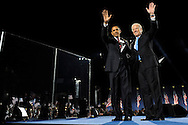 Senator Barack Obama of Illinois, U.S. President Elect, waves to supporters after winning the in the U.S. presidential election at Grant Park in Chicago, Illinois U.S., on Tuesday, Nov. 4, 2008. (Keith Bedford/Rapport Press)