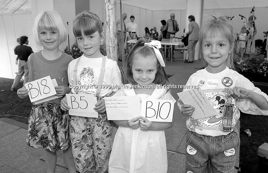 Miss Miners Lamp 5 to 7 years l to r: 4th Sarah Kilner, Denby Grange; 3rd Leanne Shaw, Barnsley Main; 2nd Sarah Hawcroft, Dearne Valley; 1st Diane Nightingale, Cadeby; 1990 Yorkshire Miner's Gala. Rotherham.