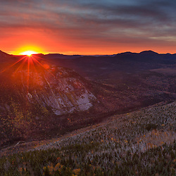 Dawn breaks over the Pemigewasset Wilderness Area as seen from Zeacliff in New Hampshire's White Mountain National Forest.