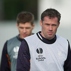LIVERPOOL, ENGLAND - Wednesday, October 3, 2012: Liverpool's Jamie Carragher during a training session at Melwood Training Ground ahead of the UEFA Europa League Group A match against Udinese Calcio. (Pic by David Rawcliffe/Propaganda)