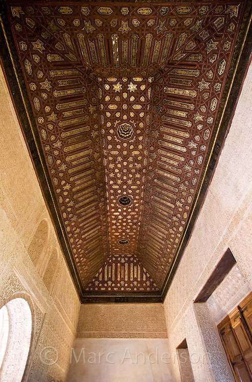 Details of Moorish architecture inside the Alhambra Palace, Granada, Spain