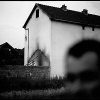 Burned houses in Krushe e Mahde, site of a Serb massacre of Kosovar Albanians, in Kosovo.
